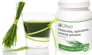 """Zelený ječmen naleznete v kombinaci s dalšími """"superpotravinami"""" v doplňku stravy Liftea Chlorella, spirulina, zelený ječmen"""