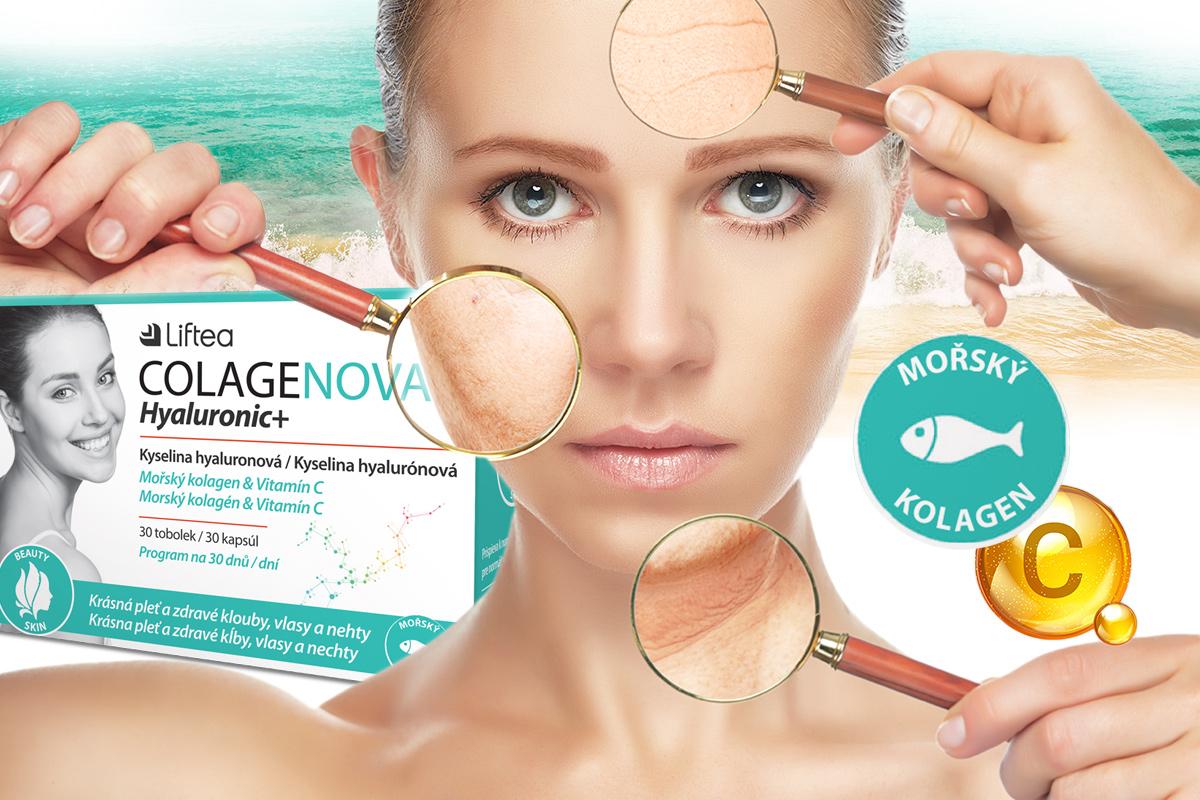 Colagenova Hialuronic+ nabízí omlazovací kúru v tobolkách. Obsahuje i při ústním podání dobře vstřebatelnou kyselinu hyaluronovou ExceptionHyal® a mořský kolagen. Doplněk stravy je obohacen o vitamín C, který nejenže zvyšuje tvorbu kolagenu, ale současně je významným antioxidantem.