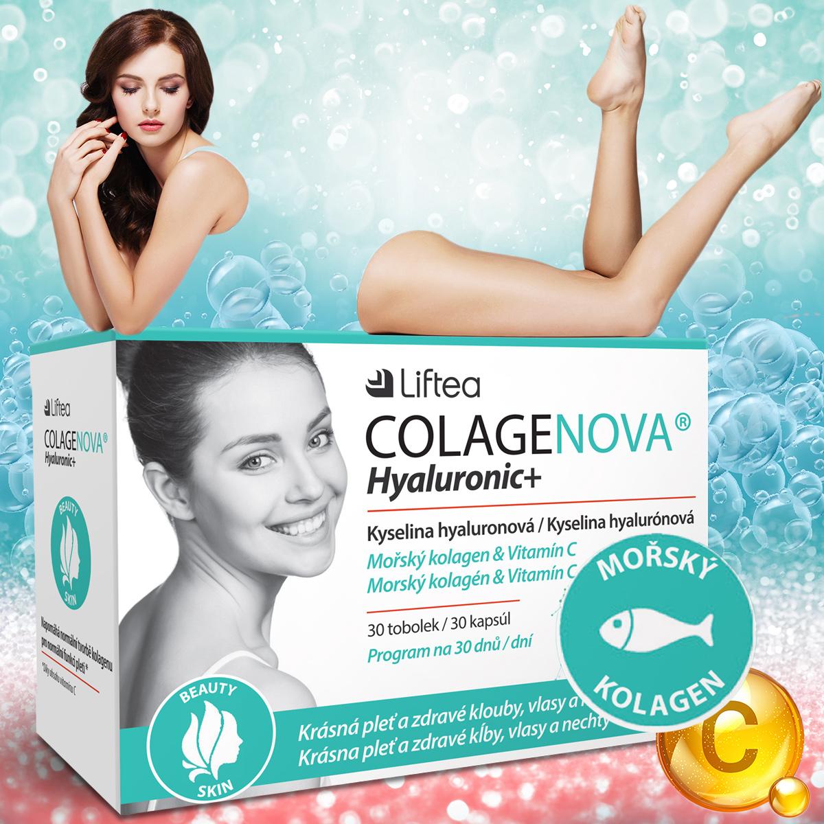 Doplněk stravy Colagenova Hyaluronic+ je pomocníkem k mladšímu vzhledu pokožky, která je hydratovaná, pružná a současně pevná, i k zdravým kloubům.