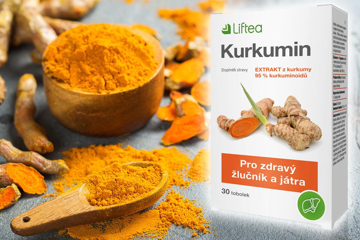 Kurkumin je skvělý pomocník pro jarní detoxikaci jater. Jako kvalitní výtažek z kurkumy jej najdete v doplňku stravy Liftea Kurkumin.